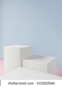 Cosmetic background for product presentation, for fashion magazine illustration. 3d render illustration