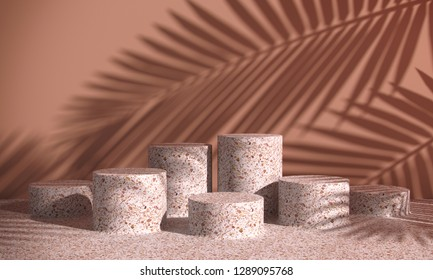 Cosmetic background for product presentation. pink terrazzo podiums on coral wall scene with shadow of leaf. Minimal geometric shape. Fashion magazine illustration. 3d render illustration.