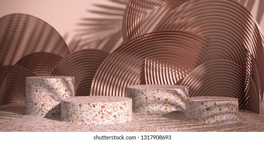 Cosmetic background for product presentation. Pink terrazzo podium on  Nude color circular geometry  background with shadow of leaf. 3d rendering illustration.