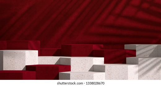 Cosmetic background for product presentation.Red velvet and pink terrazzo step with shadow of leaf. 3d rendering illustration.