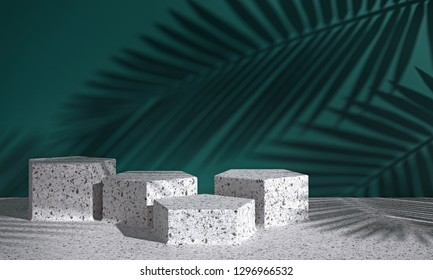 Cosmetic background for product presentation. white terrazzo geometry form podium on white terrazzo floor and green background with shadow of leaf. 3d rendering illustration.