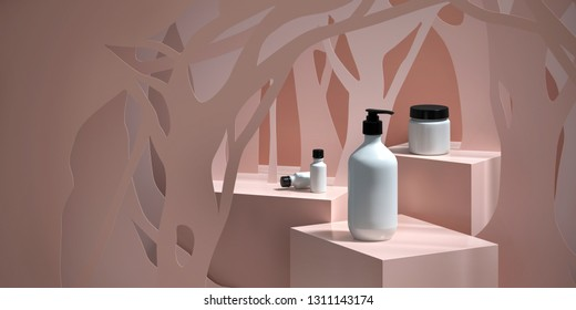 Cosmetic background for product  presentation. white bottles on cream color podium with silhouette of tree paper-cut. Modern minimal product stage. Fashion magazine illustration. 3d render illustratio