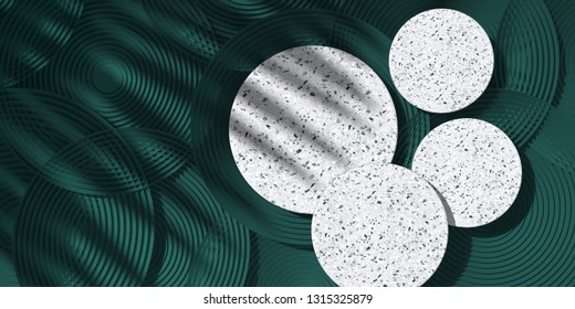 Cosmetic background for product presentation. White terrazzo podium on  green circular geometry  background with shadow of leaf. 3d rendering illustration.