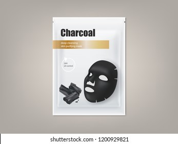 cosmetic banner with 3d realistic package for charcoal anti-blackhead facial mask, isolated on background. Skincare, premium beauty product for face treatment. Mockup for packaging design