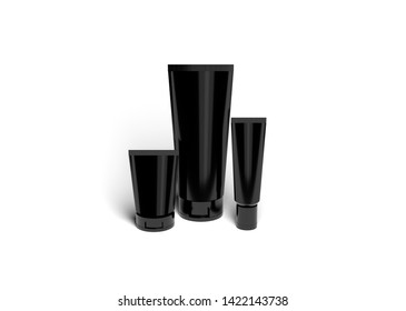 Cosmetic Black Plastic Tube mock-up Isolated on white background. Mock Up.  Front view. 3D.psd