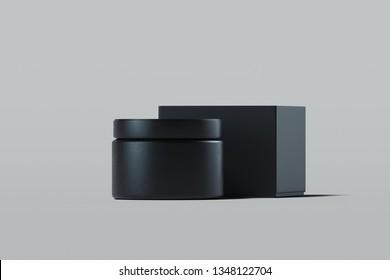 Cosmetic Bottle for cream, gel, lotion. Black plastic cream jar. 3d rendering.