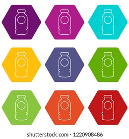 Cosmetic bottle icons 9 set coloful isolated on white for web