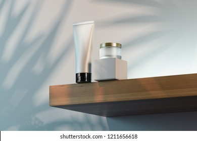 Cosmetic Bottle Set for cream, gel, lotion. Beauty product package, blank templates of white plastic containers: cream jar, cardboard box and tube. 3d rendering.