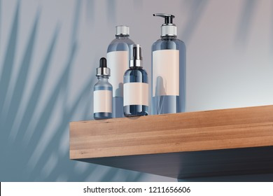 Cosmetic Bottle Set for liquid, cream, gel, lotion. Beauty product package, blank templates of transparent plastic containers: spray, bottle, dispenser and dropper. 3d rendering.