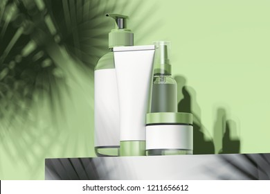 Cosmetic Bottle Set for liquid, cream, gel, lotion. Beauty product package, blank templates of plastic containers: dispenser, cream jar, tube and spray. 3d rendering.