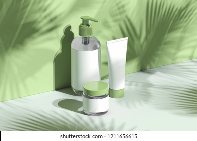Cosmetic Bottle Set for liquid, cream, gel, lotion. Beauty product package, blank templates of transparent and white plastic containers: dispenser, cream jar, tube. 3d rendering.