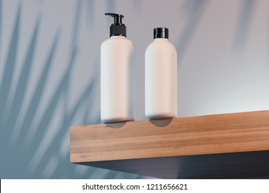 Cosmetic Bottle Set for liquid, cream, gel, lotion. Beauty product package, blank templates of white plastic containers: bottle and dispenser. Set with plant shadow on background. 3d rendering.