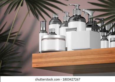 Cosmetic Bottles for Liquid, Cream, Gel, Mask, Lotion, Oil Near Cardboard Box On Wooden Shelf Next To Tropical Plant. Blank Templates: Dispenser, Cream Jar, Tube, Dropper, Spray. 3d rendering