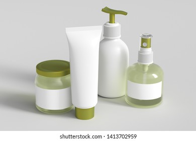 Cosmetic bottles set. Yellow spray, cream, tube, gel and lotion. Set of beauty product packages on white. 3d illustration
