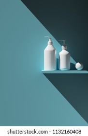 Cosmetic brand template. Raster packaging. Oil, lotion, shampoo. Bottle mock up set. On the shelf. 3D illustration