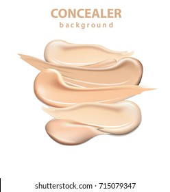 Cosmetic concealer smear strokes isolated on white background, tone cream smudged Vector Illustration of Color Shades Palette For corrector Make Up.