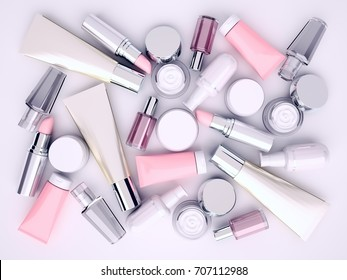 Cosmetic cream, lipstik and perfume on gray background. Top view. 3D illustration