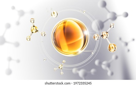 Cosmetic Essence oil Liquid drop with molecule on a white background, 3d rendering.