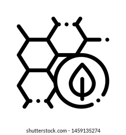 Cosmetic Ingredient Honey Thin Line Icon. Organic Cosmetic, Natural Component Honeycomb Plant Leaf Linear Pictogram. Eco-friendly, Cruelty-free Product, Molecular Analysis Contour Illustration