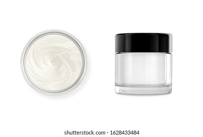 Cosmetic jar, pot glass container with body, face cream. Realistic packaging mockup template with black cap. Isolated on white. 3D rendering