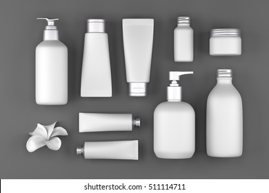 Cosmetic packaging spa and beauty set top view on grey background, 3d render