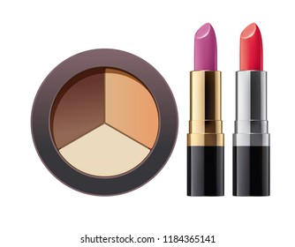 Cosmetic. Powder and lipstick on white. 3d illustration