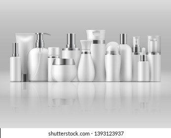 Cosmetic product package. Beauty bottle mockup white blank packaging shampoo lotion 3D product template. Illustration