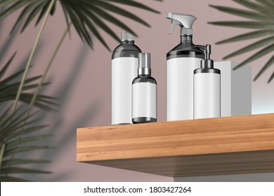 Cosmetic Set for Liquid, Cream, Gel, Mask, Lotion, Oil Near Cardboard Box On Wooden Shelf Next To Tropical Plant. Beauty Product Package of Cosmetic Containers: Dispenser, Bottle, Spray. 3d rendering