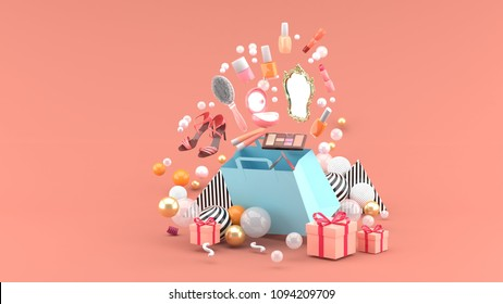Cosmetics and high heels shoes float out of the bag amid colorful balls on the pink background.-3d render.