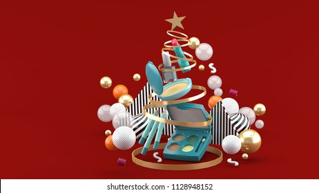 Cosmetics inside a Christmas tree ribbon amid colorful balls on a red background.-3d rendering.