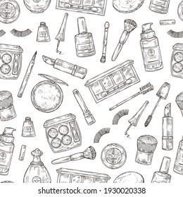 Cosmetics products. Eyelashes, lipstick and perfume, powder and makeup brush. Nail polish, foundation and tweezers doodle seamless pattern