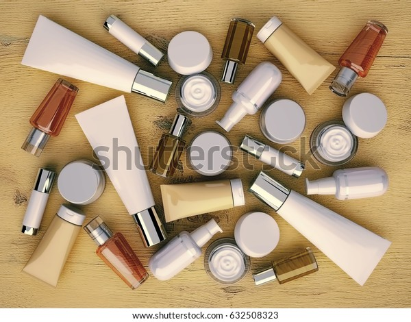 Cosmetics products located on the wooden background. Top view. 3D illustration