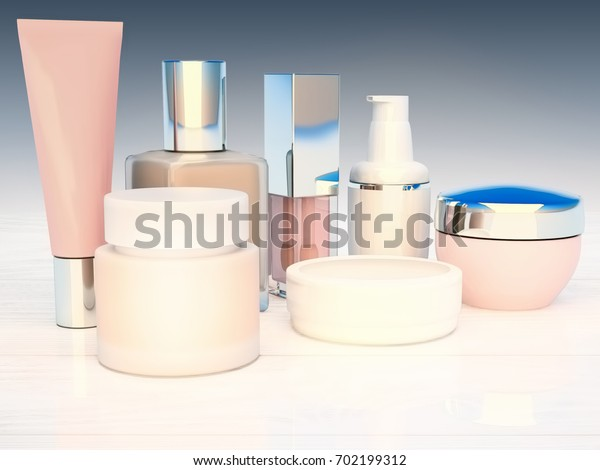 Cosmetics products located on the wooden background. 3D illustration