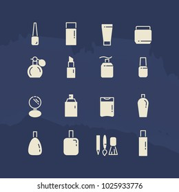 Cosmetis silhouettes and line icons on blue backdrop. illustration