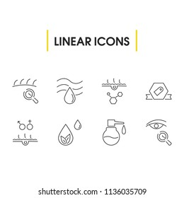 Cosmetology icons set with care skin, eye care and human skin elements. Set of cosmetology icons and droplet concept. Editable  elements for logo app UI design.