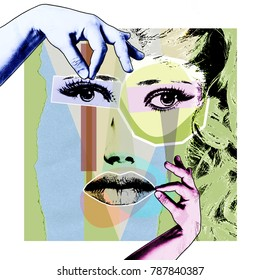Cosmetology and plastic surgery. A modern poster in the style of pop art.