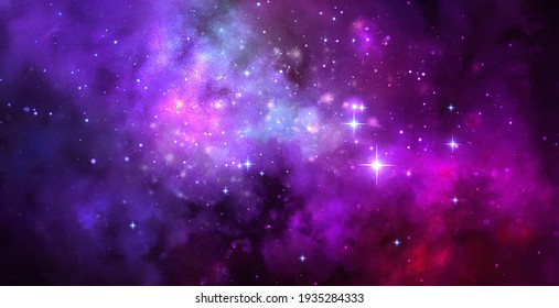 Cosmic artistic illustration. Colorful galaxy background with stars