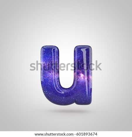 cosmic letter u lowercase 3d render of galaxy bubble font with glint isolated on white