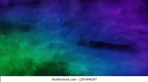 Cosmic multicolor neon blue, purple and green glow lights watercolor background. Paper textured aquarelle canvas for modern creative design. Abstract hand drawn texture water color paint illustration