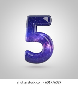 Cosmic number 5. 3D render of galaxy bubble font with glint isolated on white background.