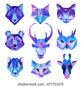 Cosmic polygonal animals set. Hand drawn watercolor illustration with galaxy inside.