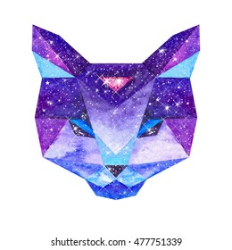Cosmic polygonal cat. Hand drawn watercolor illustration with galaxy inside.