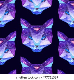 Cosmic polygonal cat. Hand drawn watercolor illustration with galaxy inside. Black seamless pattern.