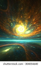 Cosmic reflections: abstract fractal artwork with space theme