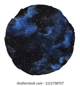 Cosmic round background isolated on white. Black and blue cosmos, galaxy, universe watercolor illustration. Circle shape with uneven edge. Watercolour night sky with stars. Aquarelle stains texture.