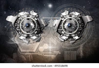 Cosmic scale gravitational generator in action, 3D illustration