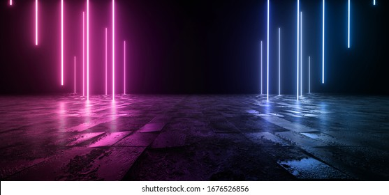 Cosmic Sci Fi Futuristic Purple Blue Neon Modern Laser Grunge Rough Cement Tiled Concrete Floor Triangle Shaped Lights VIbrant Electric Cyber Virtual 3D Rendering Illustration