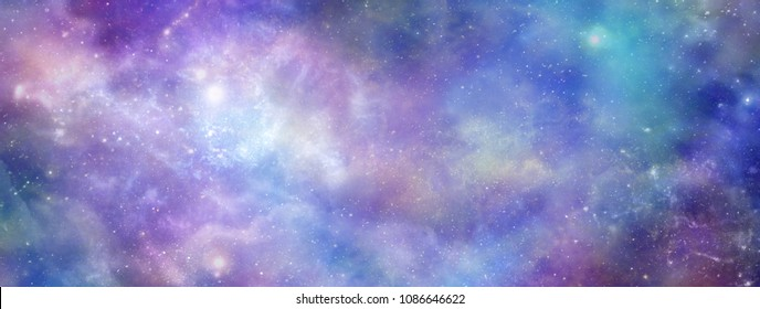 Cosmic Space Background banner - Vibrant deep space panoramic view with many different stars, planets and cloud formations