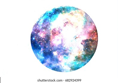 Cosmic space and moon. Collage on white background.