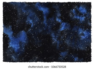 Cosmic starry background. Watercolor galaxy, space, universe, night sky with stars. Hand drawn cosmos illustration. Watercolour template with rough edges. Black, blue aquarelle stains texture.